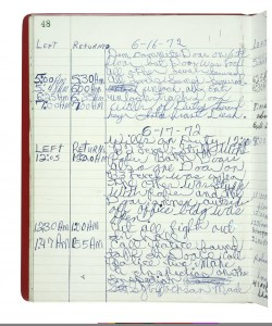 Security Officer's Log of the Watergate Office Building Showing Entry for June 17, 1972
