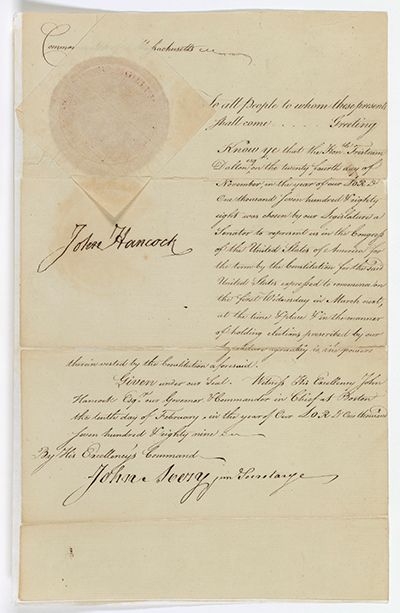 "Senate ""credentials"" for Tristam Dalton, signed by John Hancock, February 10, 1789 National Archives, Records of the U.S. Senate"